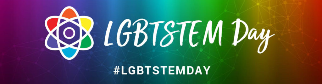 Image of LGBTSTEM Day logo with rainbow background